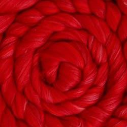 red wool silk roving
