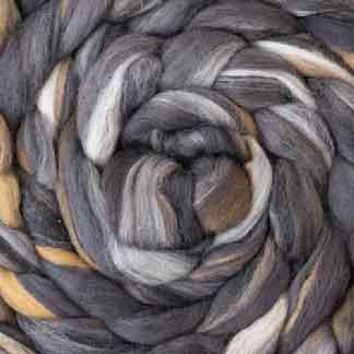 brown grey wool roving