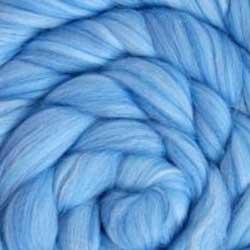 Light blue silk wool roving
