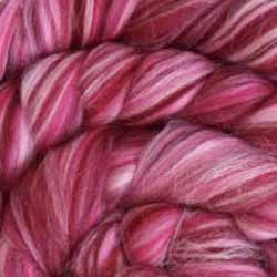 dark pink wool silk roving