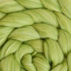 lime green silk wool roving
