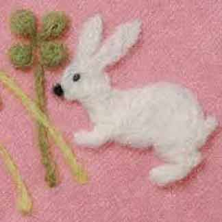 rabbit and clover needle felting mould
