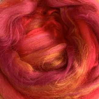 red blend wool viscose roving