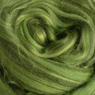 shades of green wool viscose roving