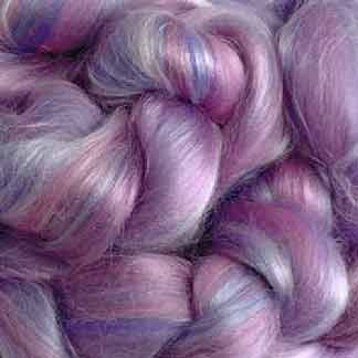 pink mauve wool viscose roving