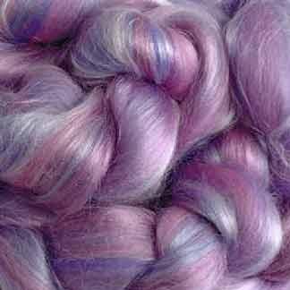 pink mauve wool viscose roving