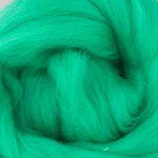 vivid green wool roving