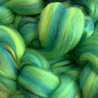 bright green wool viscose roving