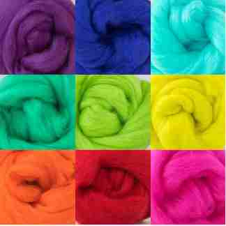 rainbow wool roving bundle