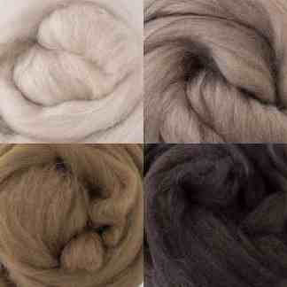 neutral brown wool roving