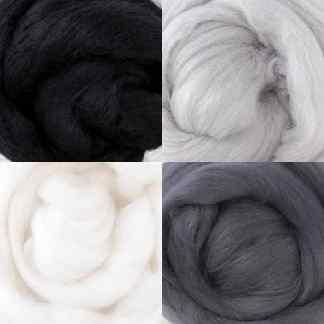 grey-scale wool roving set