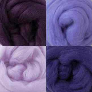 purple wool roving set