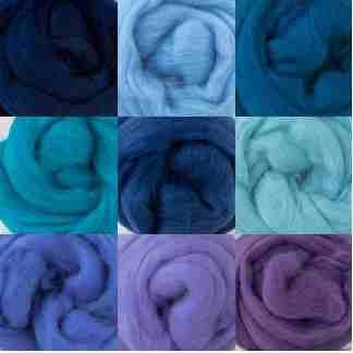 blue mauve wool roving