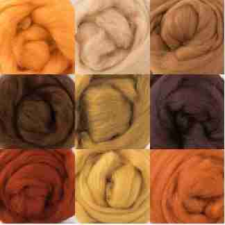 brown orange wool rovings