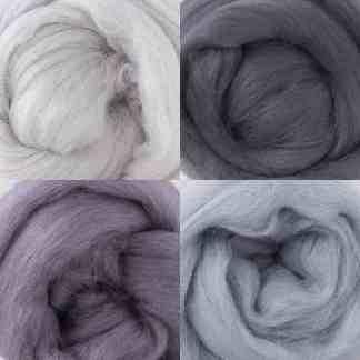 grey wool rovings bundle