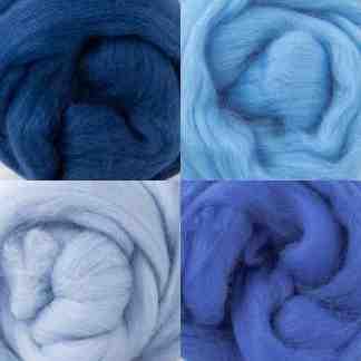 blue wool roving bundle