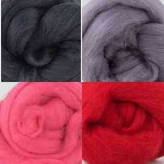 red grey wool roving