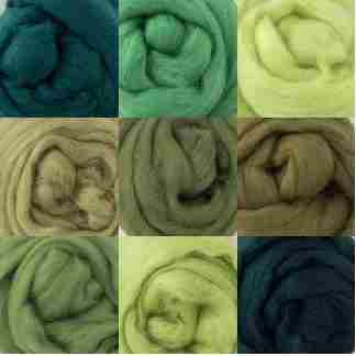 green wool rovings