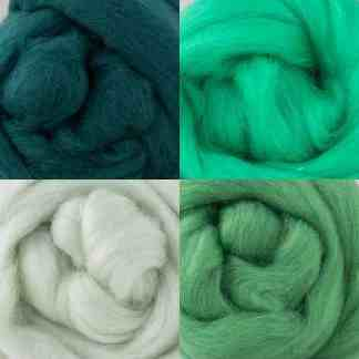 wool rovings cool greens