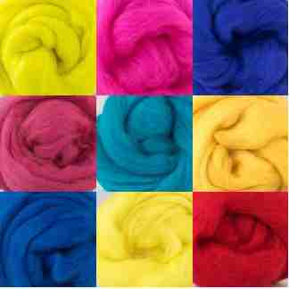primary colours wool rovings