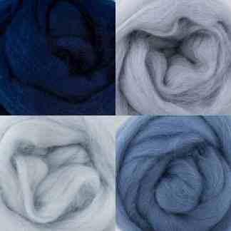 grey blue wool roving