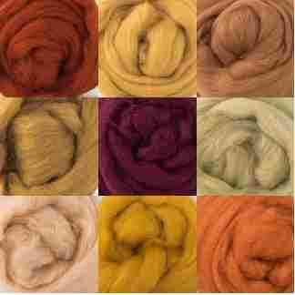 warm brown wool rovings bundle