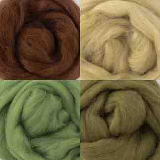 green brown wool roving