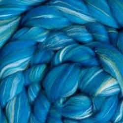 turquoise blue wool silk roving
