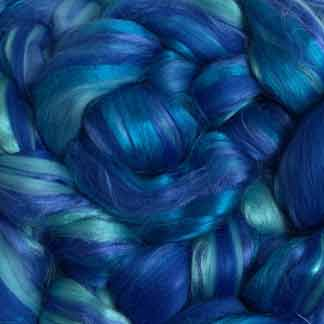 blue roving blend wool viscose