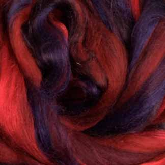 red wool viscose roving blend