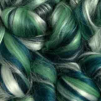 green wool roving blend