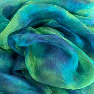 blue green silk gauze